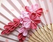 Pink sakura trio with falls silk kanzashi hair fork