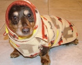 MTO Dachshund 2 Layer Reversible fleece coat with snood/hood - over 70 fabrics to choose from