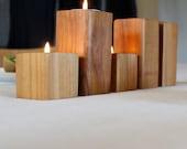 CORNER table set. Salt and pepper plus candlestands.