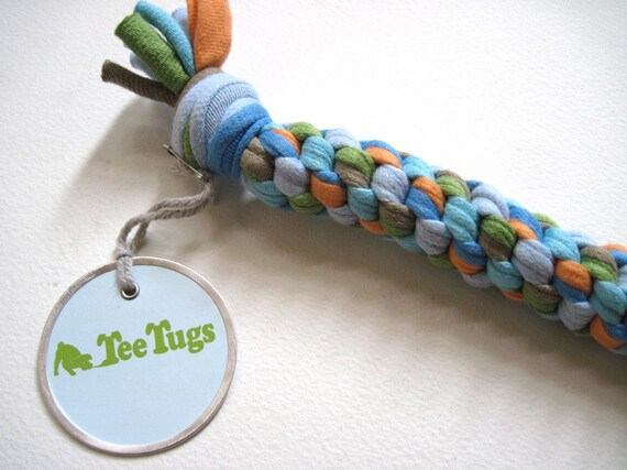Recycled t shirts dog tug toy by teetugs on etsy for T shirt dog toy
