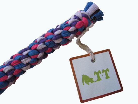 Eco Friendly Little Doggy Tug Toy from RECYCLED T-SHIRTS