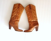 womens cowboy boots size 8 1/2 caramel brown leather below the knee wood stacked heel for fall and winter