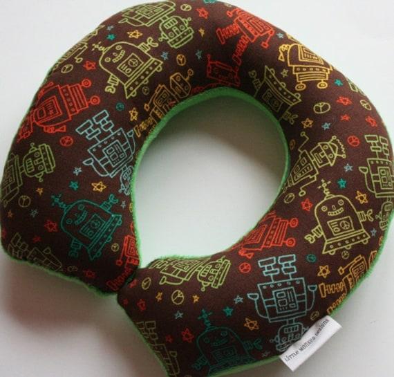 Child Travel Neck Pillow Robots W Green Minky By Travelingtot