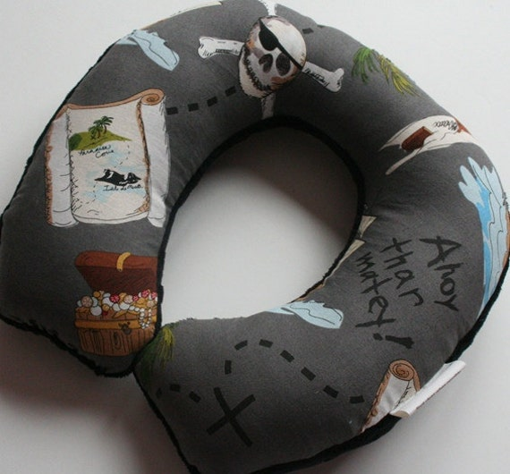Reserved for aidensmommalove - Child Travel Neck Pillow - Pirate's Life (w/ Black Minky)