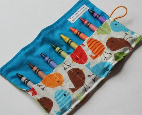 Crayon Caddy Roll Up - Little Birdie Bermuda (Holds 8-16 Crayons)