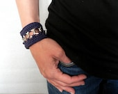 Navy blue Hand crocheted Bracelet