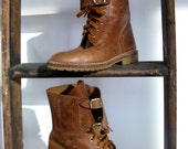 9 hole lace up Safari Leather Work Boot Size 7 -on hold until April 16th