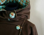 Button down hoodie in chocolate and plaid