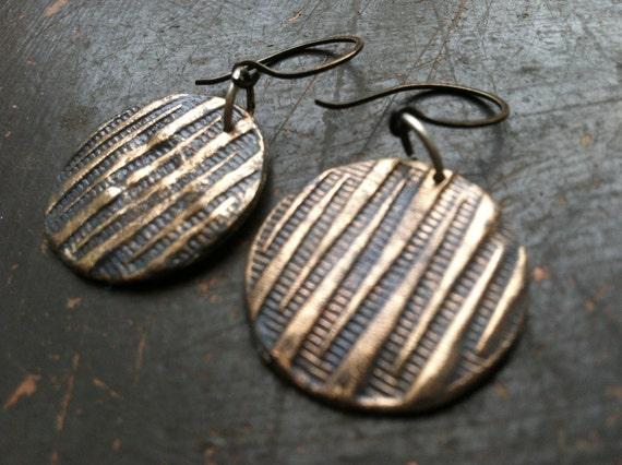 SALE Gray & Bronze Dangle Disks