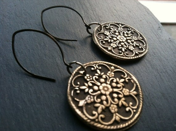RESERVED- Slate & Bronze Filigree Earrings