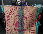 Large upcycled coffee bean burlap bag.