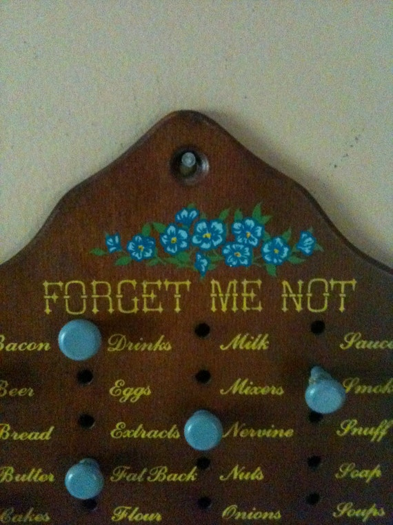 SUMMER SALE / Vintage Wooden Forget-Me-Not Kitchen Plaque Shopping List with pegs
