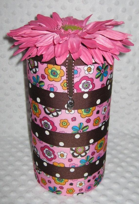 Headband Holder-Pink/brown retro flowers