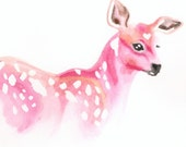 Deer painting - pink - original watercolor painting - Valentines Day - romantic gift