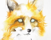 Fox art - watercolor painting - woodland creature