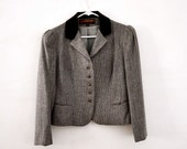 Vintage riding jacket equestrian gray brown wool velvet womens medium
