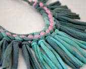 tribal statement necklace - turquoise ombre lilac fabric jewelry