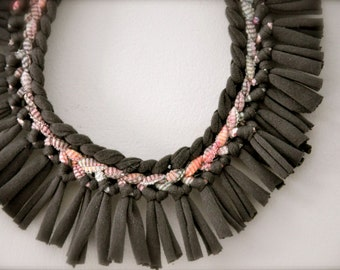 Fabric Necklace - Tribal Statement Necklace - Upcycled Jewelry Fringe - Gray Pastel
