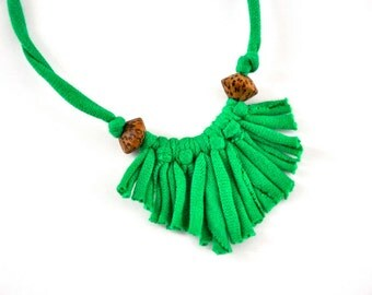 shamrock green necklace - upcycled spring mini fringe recycled beaded statement jewelry