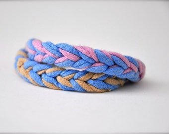 Rope friendship bracelets - recycled fabric jewelry in orchid blue beige