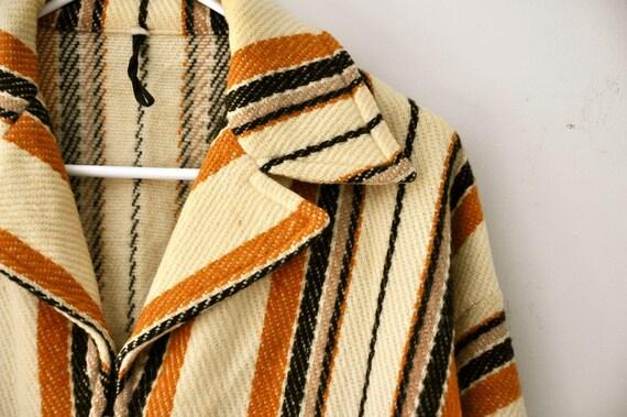 Vintage Wool Coat Jacket Medium Brown Camel Black Stripes