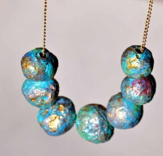 Recycled beaded necklace - paper pearl - Gold Blue Peacock Ore