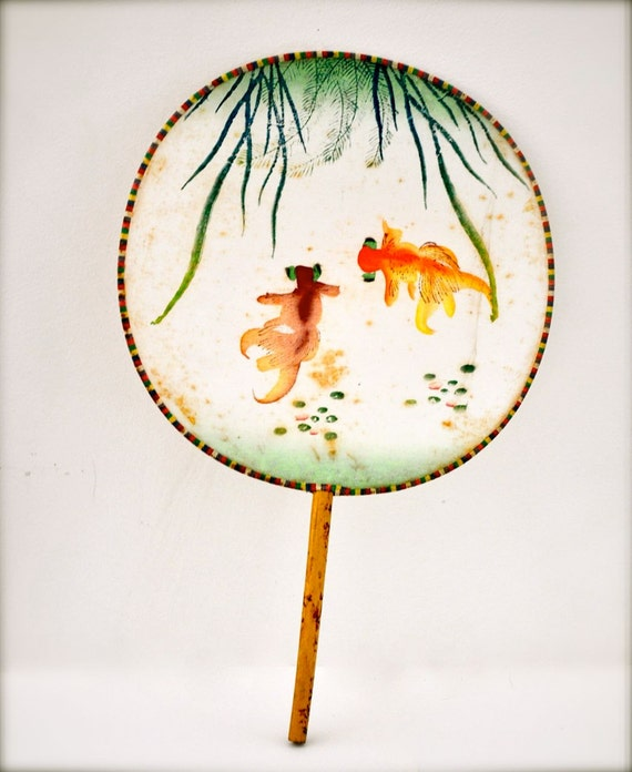 Vintage Silk Fan Asian Fan Chinese Hand Painted Goldfish