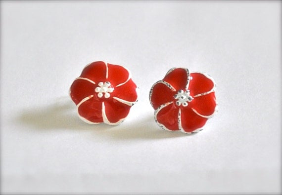 Vintage Red Flower Earrings -  Hibiscus
