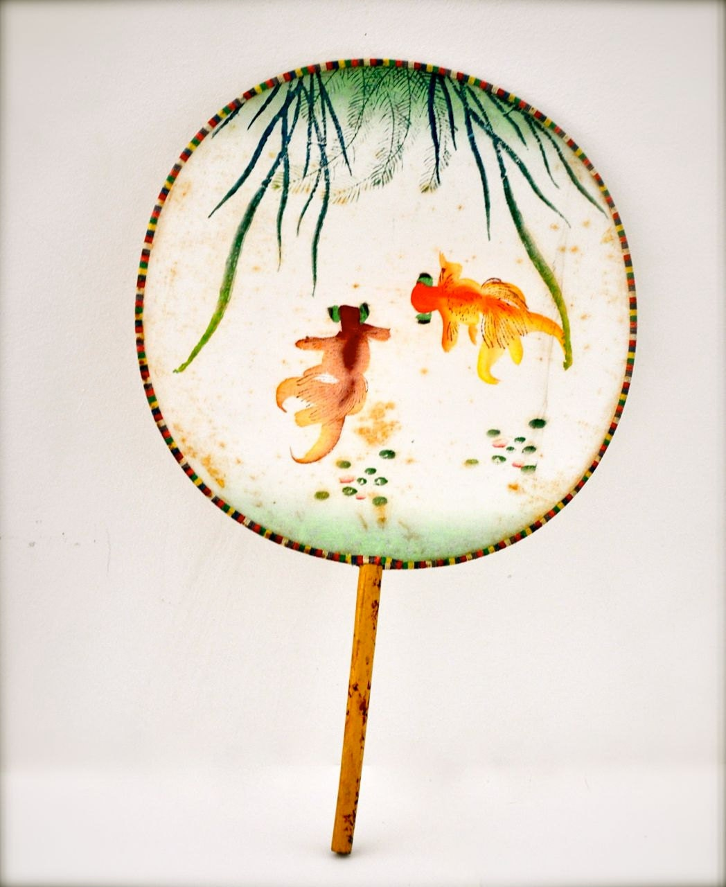 Vintage Silk Fan Asian Fan Chinese Hand Painted Goldfish