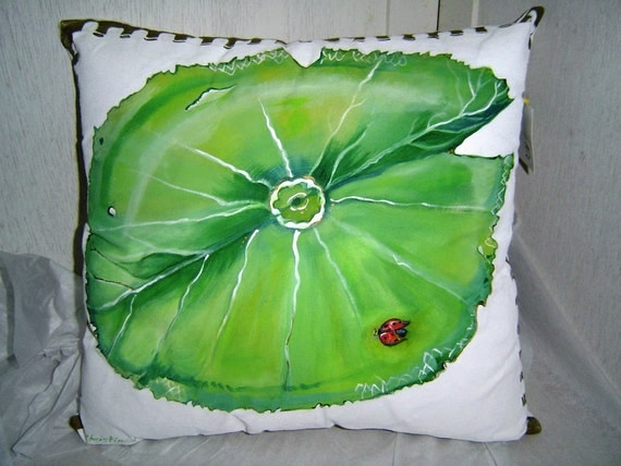 Bettina Special Order - Ladybug on a Lily Pad -  Watermelon - 2 Hand Painted Pillows