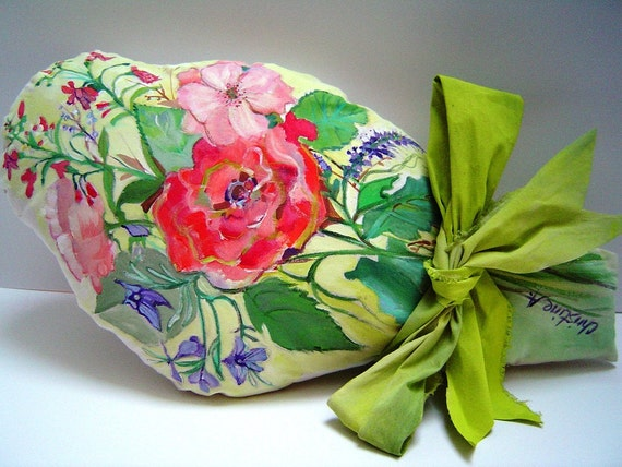 Pillow Bouquet - Summer flowers - hand painted  - Gift - Cottage Chic - 11X20 - hand painted cloth ribbon