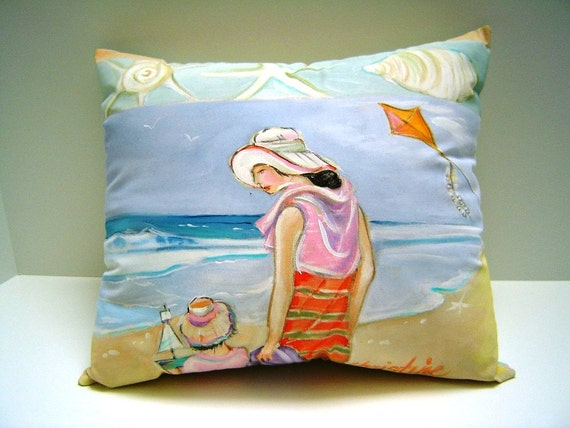 A Day at the Beach - Pillow - Vacation Memories - Hand Painted - Vacation Home - Beach - Art - 12X14