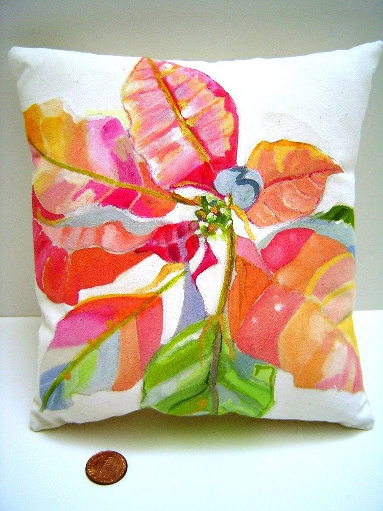 Watercolor poinsettia pillow hand painted gift home for Hand painted pillows