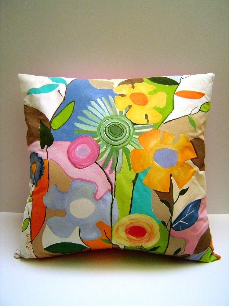 Pizzazy Jazzy Fleurs Hand Painted Pillow Abstract Zany