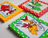 One Fish Two Fish-Dr Seuss Inspired 8x10 Wrapped Canvas Bathroom Set