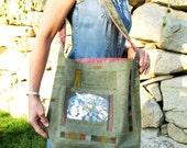 Fabric Messenger Bag - IMAGINE - UpCycled Military Canvas