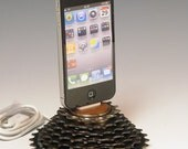 iPhone dock. iPod dock. Recycled bicycle gear and walnut. 136. A unique gift for a cyclist, gear head, or steampunk. FAST SHIPPING.