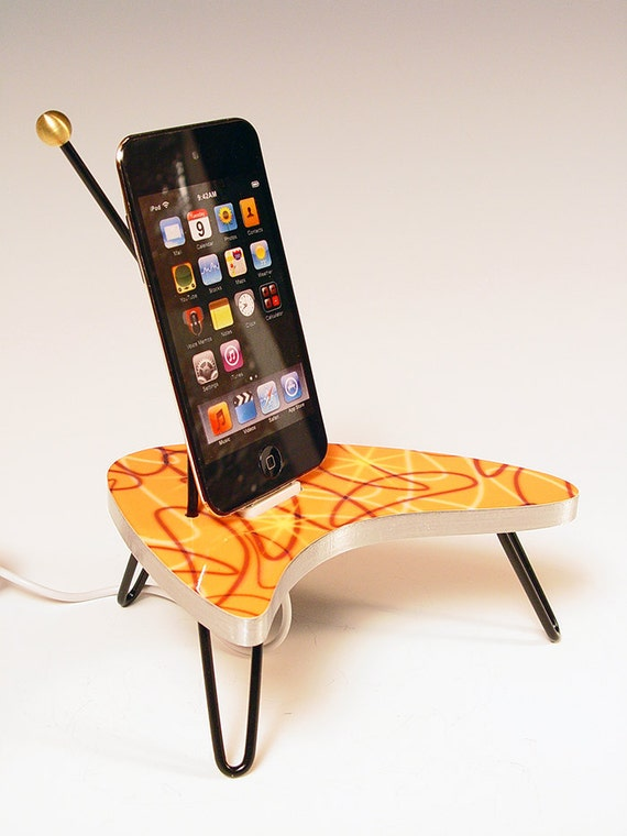 iPhone dock. iPod dock. Orange boomerang table. Atomic. Retro. 50s formica. Too cool. FAST SHIPPING. 15