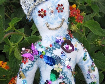 Sequin Doll Juju Wizard Hand Made One of a Kind Wishing Doll