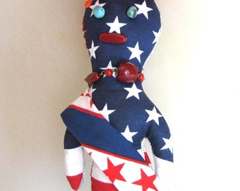 Patriotic Doll All American Good Luck Wishing Doll One of a Kind