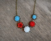Red White and Blue flower necklace - antique brass - bridal - elegant