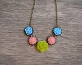 Lime Green Pink and Blue flower necklace - antique brass - bridal - elegant