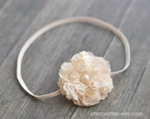 Newborn Baby Girl Prop: Cream dainty Satin and Lace Flower on Skinny Cream Headband. Other sizes available. Baby Headband.