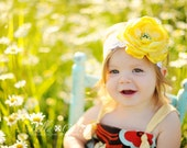 Baby Girl, Toddler Girls Big Sunshine Yellow Satin Flower on Wide White Lace Headband. Perfect for photoshoots or Wedding.