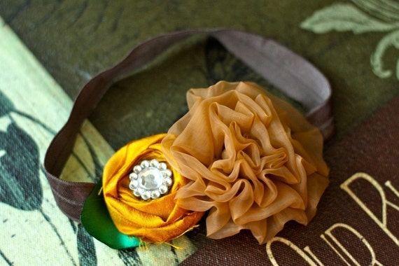 Earth Tone Duo Fabric Flower Headband - Pick your size