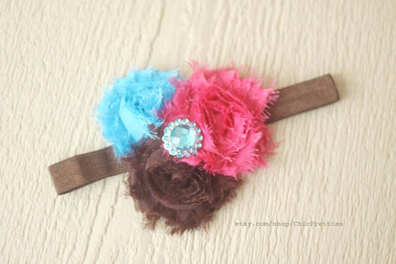 Triple Combo Turquoise, Brown and Hot Pink Frayed Sllk Flowers Headband. Pick your size.