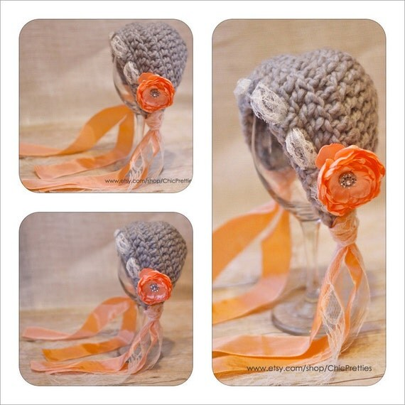 Baby Girl Photo Prop: Gray and Peach Bonnet. Size Newborn. With lace and satin ribbon accent.