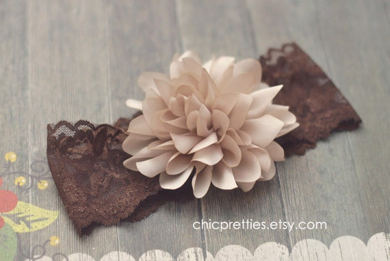 Read to ship: Gorgeous Baby Girl Satin Flower on Wide Brown Lace Headband. Size 6 months - 2 yrs old.