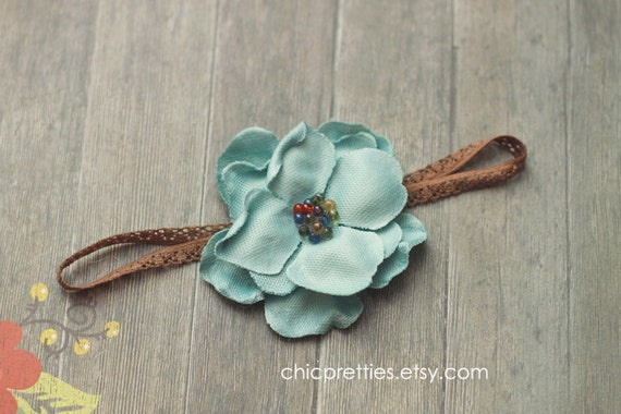 Newborn Baby Girl Gorgeous Blue Flower on Skinny Brown Lace Headband. Other size's available.