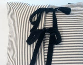 French stripe Ticking  decorative PILLOW COVER black and natural, black velvet ribbon front closure